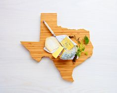 AHeirloom's Texas State Shaped Cutting Board by AHeirloom on etsy ...you can put your favorite mixed pickles on it to mark Lake Austin ;)