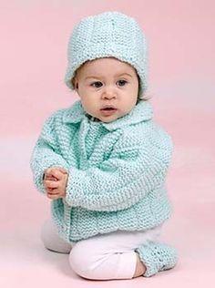FREE PATTERN....Knit Perfect Baby Gift Setin Lion Brand Pound Of Love - 20112AD