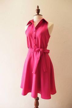52bae5c1ac5 DOWNTOWN Fuchsia Dress Shirt Dress Day Fuchsia Pink Bridesmaid Dress  Wedding Photo Dress Bright Color Sundress Vintage Modern Modest Dress