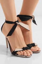Bow-embellished python-trimmed suede sandals