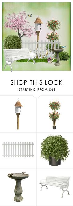 """Decorate with a fence - Bird house and Birdbath"" by shistyle ❤ liked on Polyvore featuring interior, interiors, interior design, home, home decor, interior decorating, Nearly Natural, National Tree Company and Alpine"