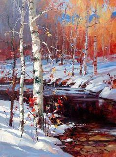 Original paintings by BC Artist Brent Heighton. Meet Brent Heighton in person at the Calgary Stampede art exhibition. New paintings and giclee on canvas prints or all his art. Watercolor Trees, Watercolor Landscape, Landscape Art, Landscape Paintings, Painting Snow, Winter Painting, Winter Art, Great Paintings, Original Paintings