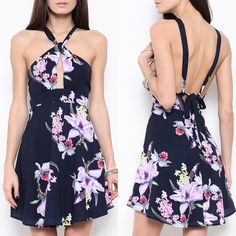 Tie Up Navy Floral Mini Dress Tie up navy blue dress with florals. Only available in this color. Brand new. Junior sizing. NO TRADES. PRICE FIRM Bare Anthology Dresses Mini