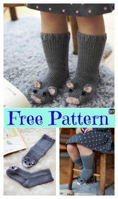 Super Cute Knit Mice Socks - Free Pattern #freeknittingpattern #socks