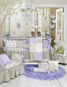 Viola Bedding by Glenna Jean - Baby Crib Bedding OMG would love this fairy tree in my purple guest/baby room!