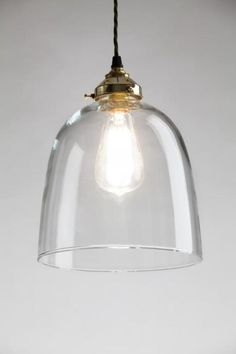 Bell Blown Glass Pendant in Large Clear Glass - Trouva