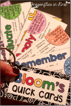 Engaging Learning Practices and Higher Levels of Thinking! Bloom's Quick Cards FREEBIE and SOOO much more!! Help your kiddos DIG DEEP and build schema!