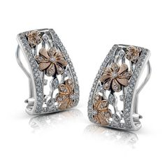 Simon G. 18K Two-tone White and Rose Gold Flower Diamond Earrings Featuring 0.74 Carats of Diamonds with High Polish and Satin Finish Details