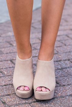 """""""Around The World Heels, Camel""""Chunky heels are back and they are here to stay! We love how thick the heel and platform are on the fabulous retro beauties! #newarrivals #shopthemint"""
