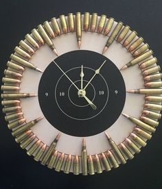 Bullet Clock on Target with Inert Ammo. Great gift for shooters, hunters, military, man cave, gun gift Bullet Clock on Target with Inert Ammo. Great gift for Man Cave Guns, Man Cave Diy, Man Cave Home Bar, Cave Bar, Man Cave Crafts, Man Caves, Bullet Casing Crafts, Bullet Crafts, Bullet Casing Jewelry