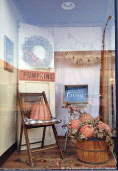 Fall Window Display: Love of Family & Home Store in Murphysboro, Illinois