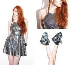 Black Milk Clothing Shattered Crystal Reversible Straps Dress, Ages Ago Moonspoon Saloon X Topshop Platform Sneakers