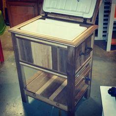 Walnut & maple cooler we built