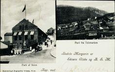Telemark fylke SKIEN. Flott tobilders montasjekort med reklame for Skiens Margarin. Bl.a. bilde av fabrikken Utg Bogh. Nilsson brukt 1904