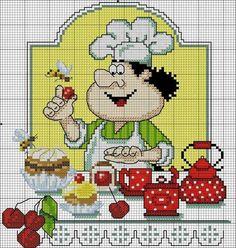 Hobbies trabalho feminino - bordados - crochê - malha: Chef Cross Stitch Schemes