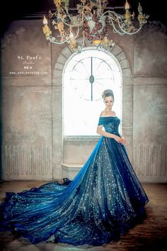 Halloween style!! Midnight Blue and starlight! Wedding gown or a gown for a true princess! Imagine walking slowly down the staircase in this dress!