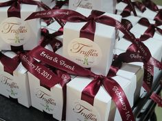 burgundy and champagne wedding | Chocolate wedding favors for Erica & Frank with a wedding donation to ...