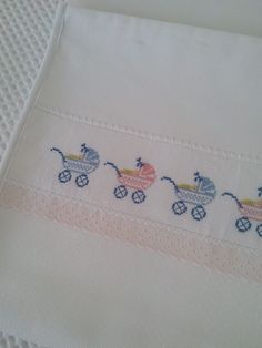 This Pin was discovered by Gül Cross Stitch Sea, Cross Stitch For Kids, Cross Stitch Borders, Cross Stitch Designs, Cross Stitching, Cross Stitch Patterns, Baby Sheets, Baby Bedding Sets, Embroidery Art
