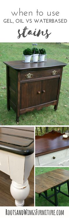 When and how to use oil based, gel stains or water based stains. Featuring General Finishes Gel Stain and Water Based Stains. By Jenni of Roots and Wings Furniture.