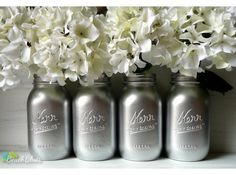 Silver - Winter Home and Christmas Wedding Decor - Vase - Painted Mason Jars on Etsy, $32.00