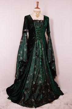 Dark green velvet medieval dress with large draped sleeves
