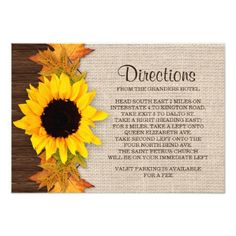 Rustic Fall Sunflower Wedding Direction Card