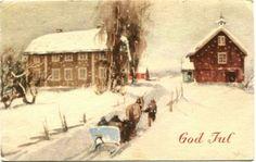 Julekort Gerhard Gjerding. Gårdsbesøk. Utg Mittet Stemplet 1948.