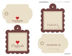 Free Handmade with Love digital tags labels... Great for Gifts..