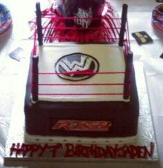 WWE Raw themed birthday cake. Fondant decorations.
