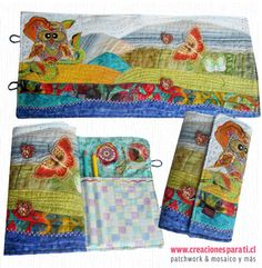 Lapicero patchwork paisaje con buho y mariposas