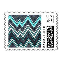 Aqua, Charcoal Grey, and Black, Chevron, Zig Zag,  Postage Stamps. #chevron #stamps #aqua #blue #grey #gray #black