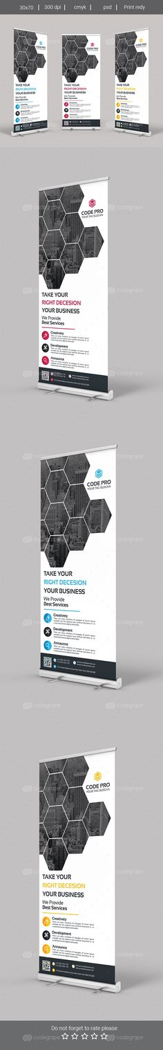 Roll Up Banner - Graphic Nitro Roll Up Design, Ad Design, Layout Design, Graphic Design, Creative Brochure, Creative Flyers, Standing Banner Design, Banner Design Inspiration, Rollup Banner