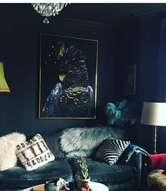 Inspired Spaces | Living Rooms | Black Wall | Pillow Mix | Faux Fur Pillow