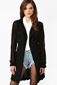 Chiffon trench coat!! (just replace the denim underwear looking thing with maybe some actual bottoms)