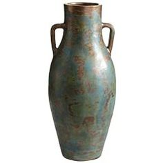 teal patina terracotta vase