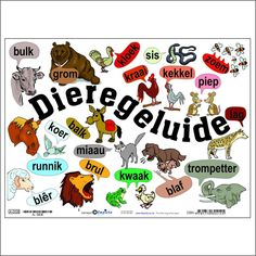 Dieregeluide Charts Fun and colourful wall chart. Perfect for teachers and parents. 455 x en gelamineerd. Product code: A-DGE Preschool Worksheets, Preschool Learning, Preschool Activities, Book Activities, Garden Theme Classroom, Classroom Ideas, Animals Name In English, Afrikaans Language, Teaching English Grammar