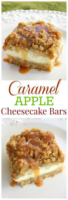 Caramel Apple Cheesecake Bars - These bars start with a shortbread crust, a thick cheesecake layer, and are topped with diced cinnamon apples and a sweet streusel topping. One of my favorite treats ev (Baking Cheesecake Bars) Apple Dessert Recipes, Delicious Desserts, Yummy Food, Bar Recipes, Healthy Apple Desserts, Apple Deserts, Apple Recipes Easy, Apple Fruit, Plated Desserts
