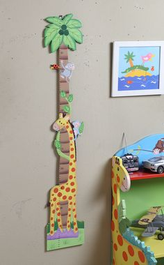 Measure the possibilities with Teamson's Sunny Safari Growth Chart. Watch your little one learn and grow with this hand painted, hand carved piece. A smiling giraffe and playful monkeys climbing about the growth chart make growing to new heights fun. Perfect for all ages.