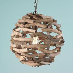 Driftwood Ball Pendant Light Shades of Light $199