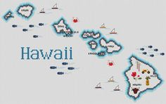 Hawaii Map - Cross Stitch Pattern - Completed in 1991 in memory of where we spent our honeymoon Xmas Cross Stitch, Counted Cross Stitch Patterns, Cross Stitch Designs, Cross Stitching, Cross Stitch Embroidery, Embroidery Patterns, 123 Stitch, State Crafts, Crochet Humor