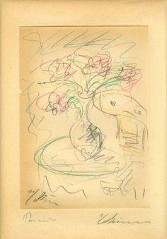 Vase of flowers, drawing, George Bouzianis Flower Vases, Flowers, Expressionism, Greece, Vintage World Maps, Drawings, Artwork, Greece Country, Work Of Art
