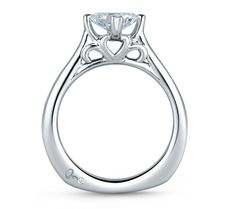Style MES438 Art Designed Princess Engagement Ring From the Seasons of Love Collection this rose gold double prong engagement ring displays a princess center diamond in a rare and beautiful design. #princess #unique
