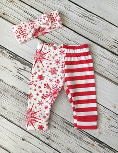 Leggings and Bow Headband Set in Red and by LittleDreamerApparel