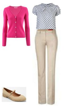 Business Casual Starter Kit Day 9: Bright pink or berry cardigan, white blouse with navy polka dots (not quite this style), tan trousers, tan shoes.