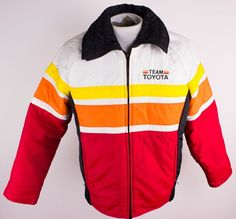 Vintage Team Toyota Racing Toyotaline Sz M Medium Puffy Jacket 70s Stripe Colors #Columbia #BasicCoat