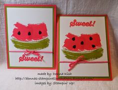 Watermelon card using SU Work of Art stamp. Seeds are Basic Black CS punched with Itty Bitty Accents Punch Pack then trim the 4 petals into seed shapes. Colors are Strawberry Slush and Old Olive