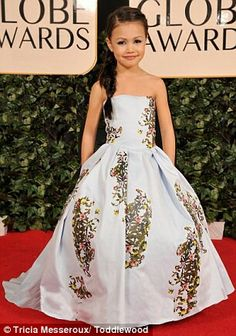 Flowergirl dress modeled after a Carolina Herrera gown worn to the Golden Globes by Lucy Liu
