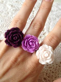 Rose ring flower ring adjustable fashion jewellery