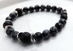 Men's Stone Bracelet, Wrist Mala Mens Beaded Bracelet, Men's Obsidian and Lava Stretch Bracelet by lyrisgems on Etsy
