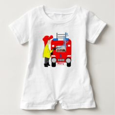 Such a fun graphic with a big red fire engine truck and fire fighter with his watering hose.. Don't forget to customize with a personal name on the trucks name plate and an age on the bonnet. Adorable for baby's and toddlers and ideal if your looking for a new baby or birthday gift.